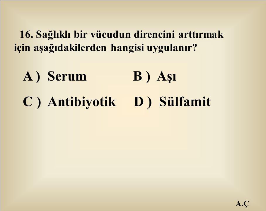 C ) Antibiyotik D ) Sülfamit