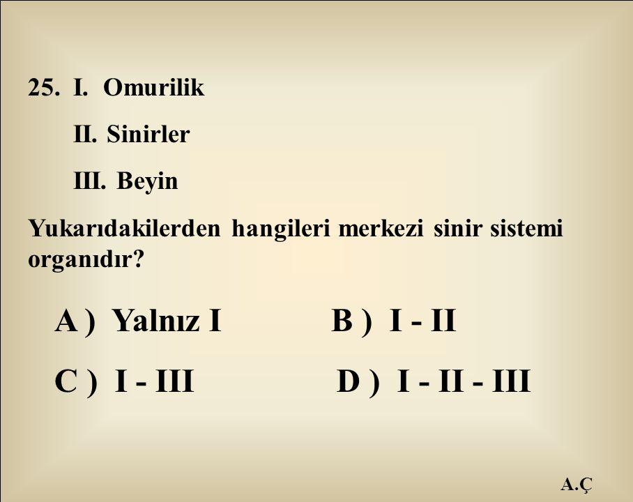 A ) Yalnız I B ) I - II C ) I - III D ) I - II - III 25. I. Omurilik