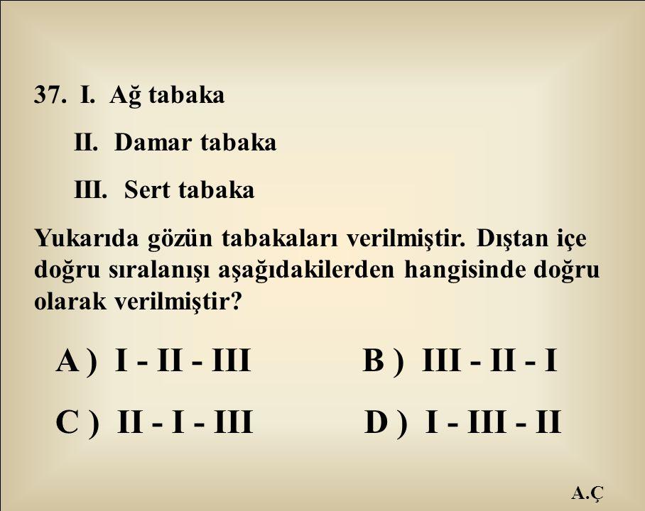 A ) I - II - III B ) III - II - I C ) II - I - III D ) I - III - II