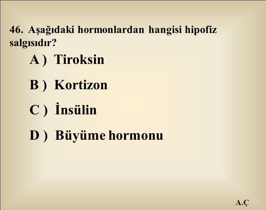 A ) Tiroksin B ) Kortizon C ) İnsülin D ) Büyüme hormonu