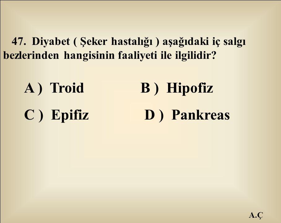 A ) Troid B ) Hipofiz C ) Epifiz D ) Pankreas