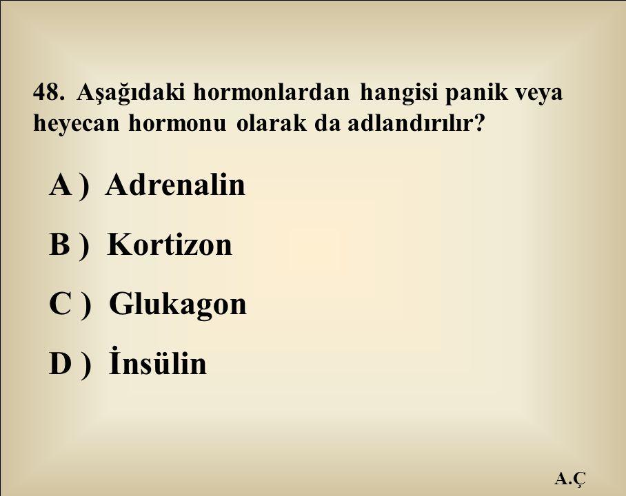 A ) Adrenalin B ) Kortizon C ) Glukagon D ) İnsülin