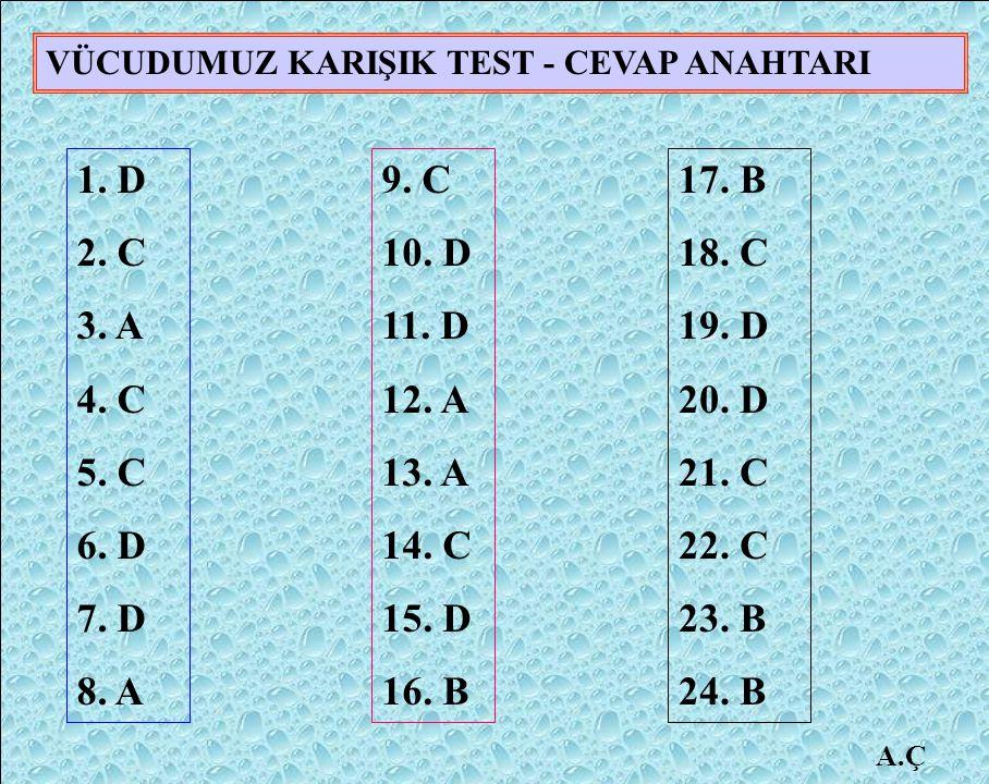 VÜCUDUMUZ KARIŞIK TEST - CEVAP ANAHTARI