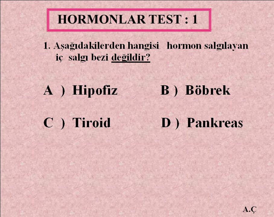 HORMONLAR TEST : 1 A.Ç