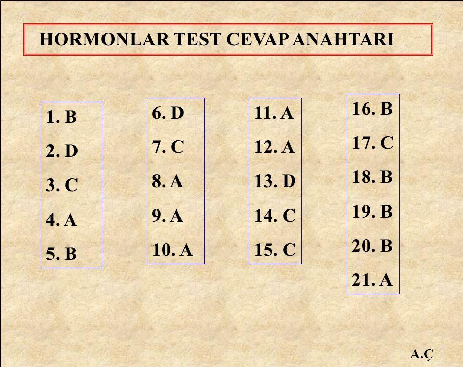 HORMONLAR TEST CEVAP ANAHTARI