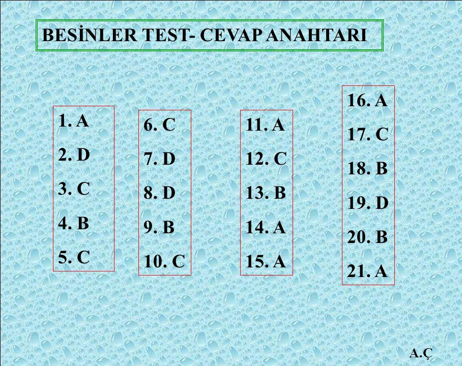 BESİNLER TEST- CEVAP ANAHTARI