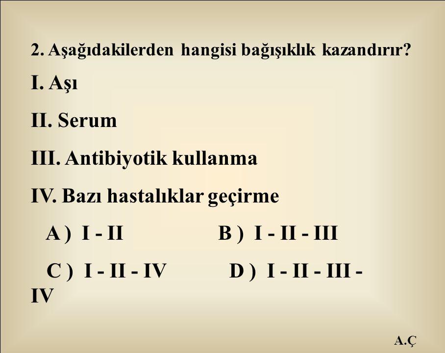 III. Antibiyotik kullanma IV. Bazı hastalıklar geçirme