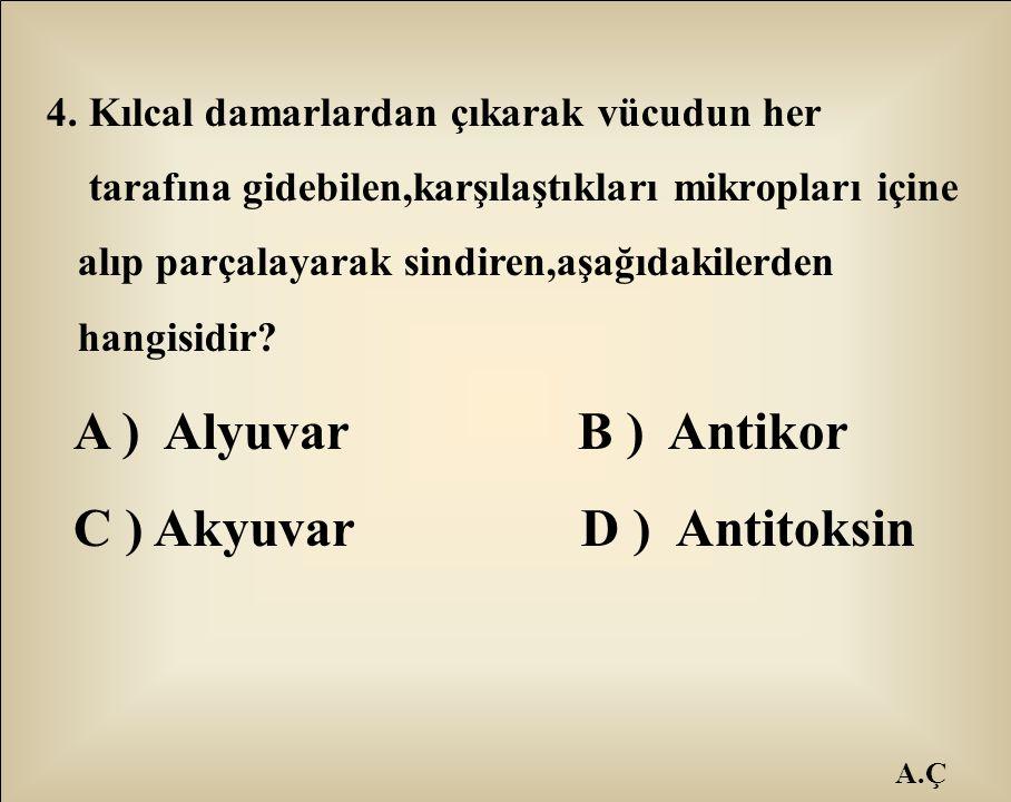 C ) Akyuvar D ) Antitoksin