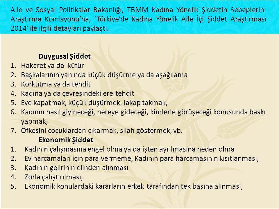 Aile ve Sosyal Politikalar Bakanlığı, TBMM Kadına Yönelik Şiddetin Sebeplerini Araştırma Komisyonu'na, 'Türkiye'de Kadına Yönelik Aile İçi Şiddet Araştırması 2014' ile ilgili detayları paylaştı.