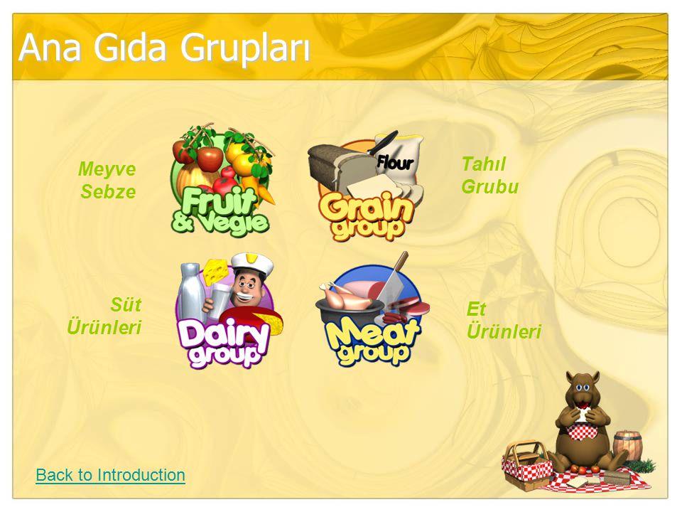 Ana Gıda Grupları Tahıl Grubu Meyve Sebze Süt Et Ürünleri Ürünleri