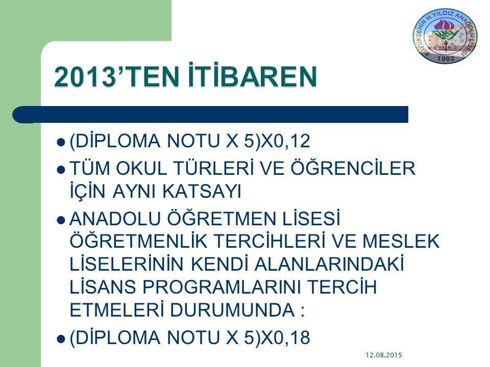 2013'TEN İTİBAREN (DİPLOMA NOTU X 5)X0,12