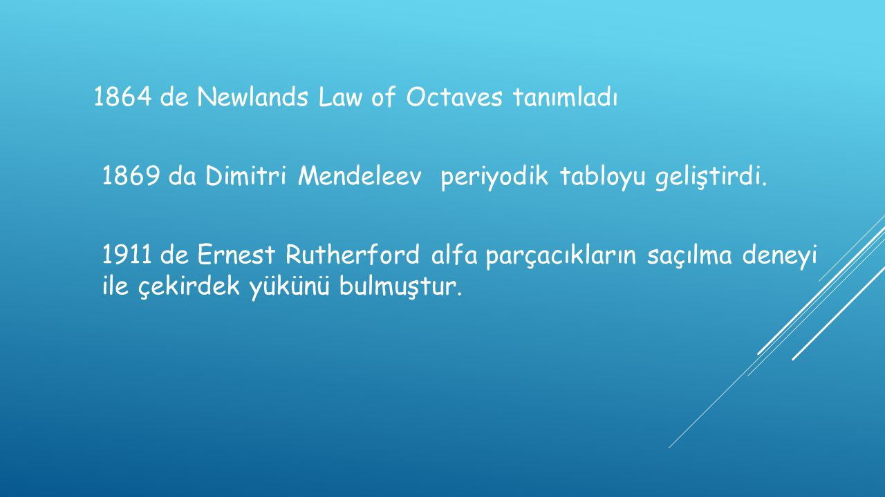 1864 de Newlands Law of Octaves tanımladı