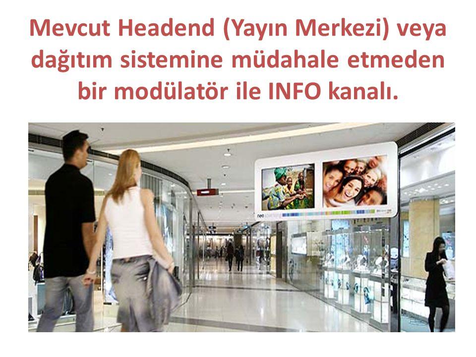 Mevcut Headend (Yayın Merkezi) veya dağıtım sistemine müdahale etmeden bir modülatör ile INFO kanalı.