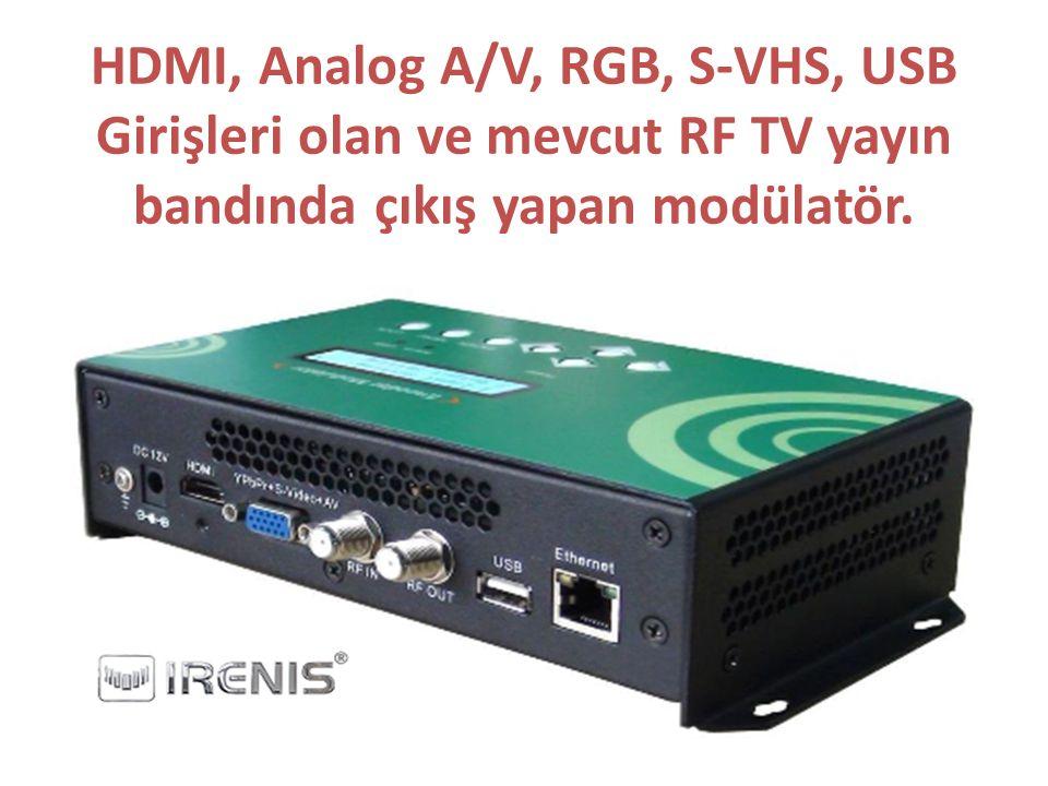 HDMI, Analog A/V, RGB, S-VHS, USB Girişleri olan ve mevcut RF TV yayın bandında çıkış yapan modülatör.