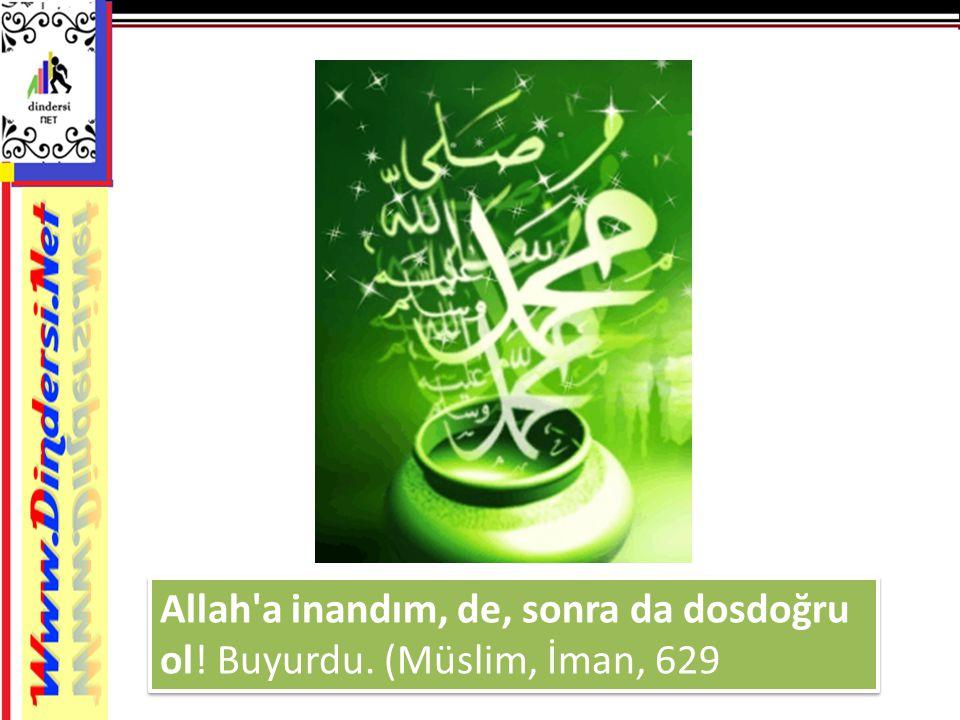 Allah a inandım, de, sonra da dosdoğru ol! Buyurdu. (Müslim, İman, 629