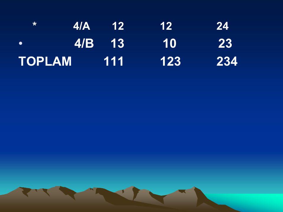 * 4/A 12 12 24 4/B 13 10 23 TOPLAM 111 123 234