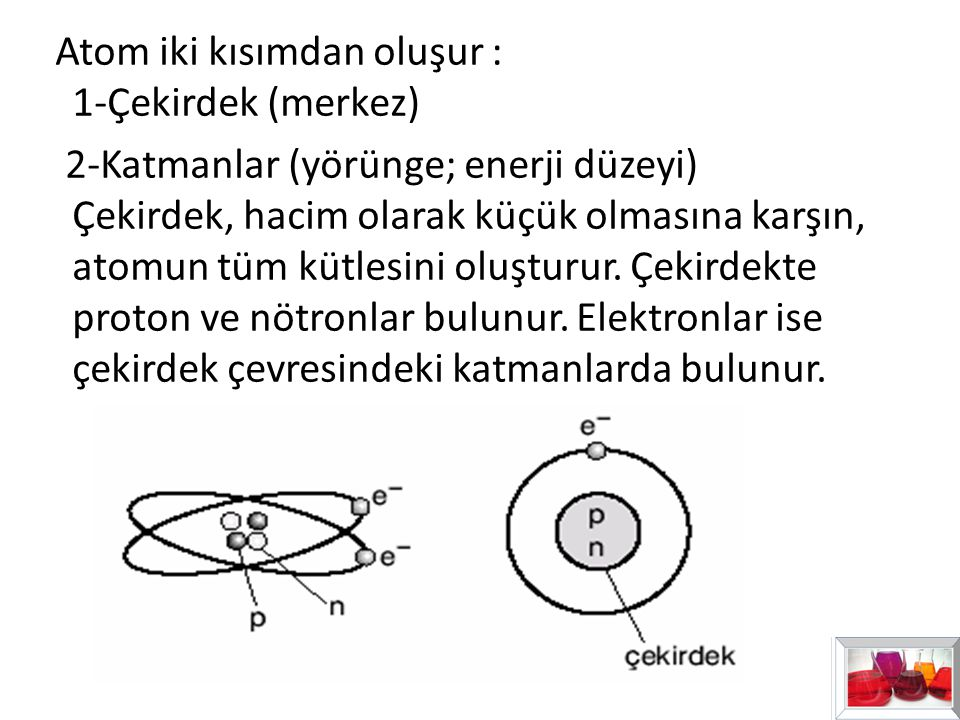 Atom iki kısımdan oluşur : 1-Çekirdek (merkez)