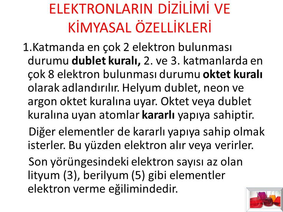 ELEKTRONLARIN DİZİLİMİ VE KİMYASAL ÖZELLİKLERİ