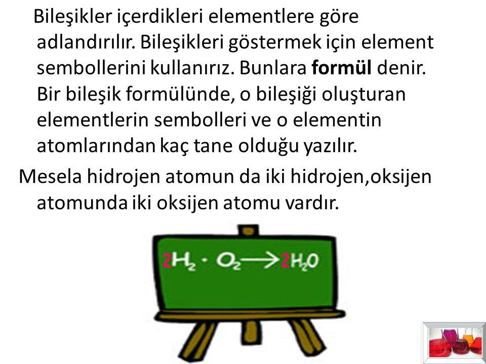 Bileşikler içerdikleri elementlere göre adlandırılır
