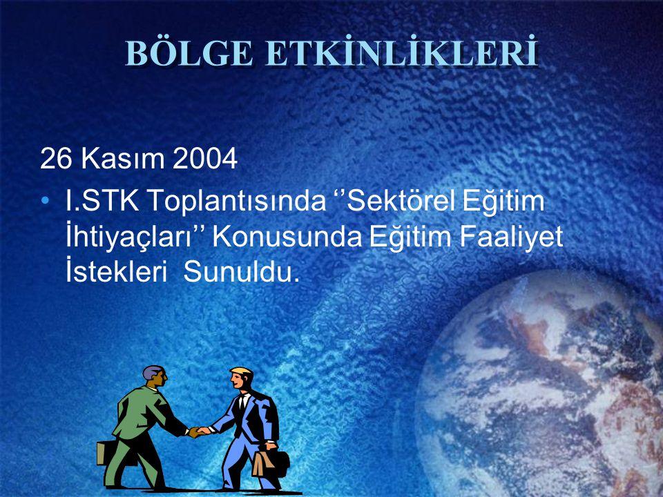 BÖLGE ETKİNLİKLERİ 26 Kasım 2004