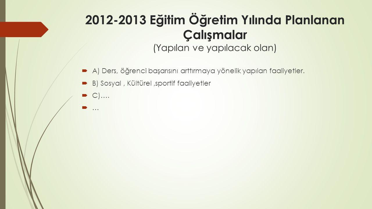 2012-2013 Eğitim Öğretim Yılında Planlanan Çalışmalar (Yapılan ve yapılacak olan)
