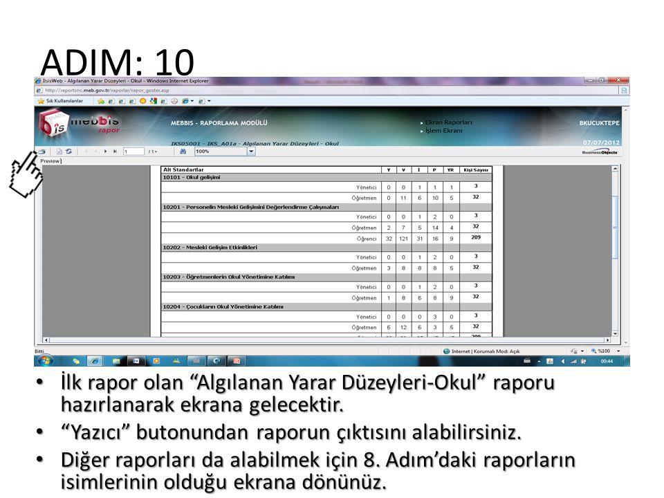 ADIM: 10 İlk rapor olan Algılanan Yarar Düzeyleri-Okul raporu hazırlanarak ekrana gelecektir. Yazıcı butonundan raporun çıktısını alabilirsiniz.