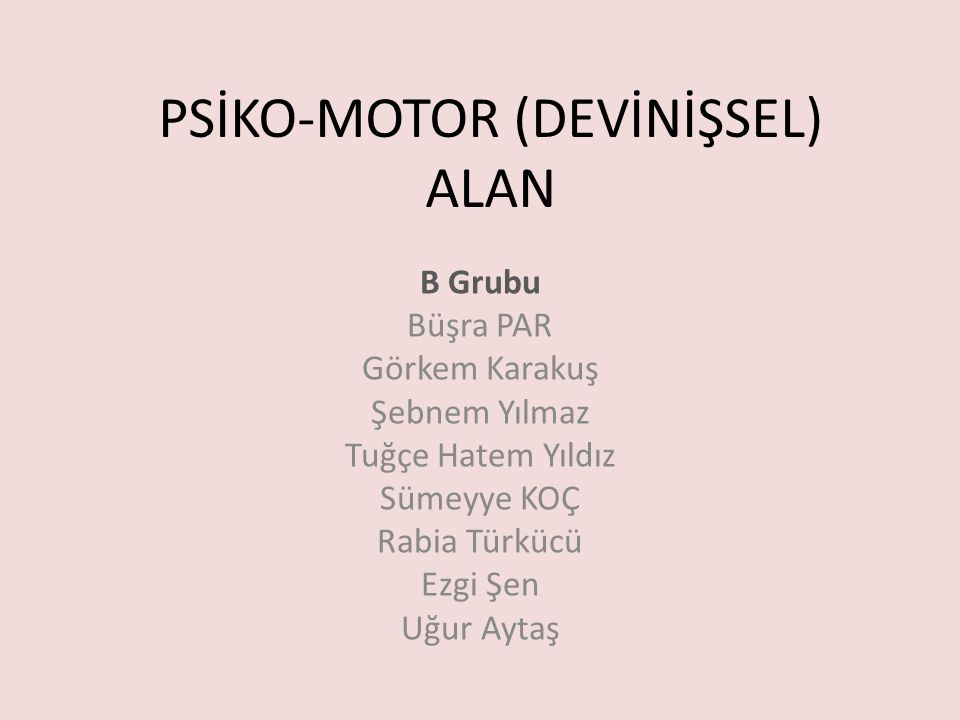 PSİKO-MOTOR (DEVİNİŞSEL) ALAN