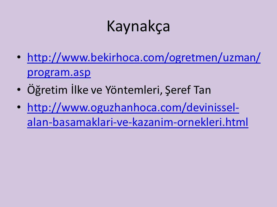 Kaynakça http://www.bekirhoca.com/ogretmen/uzman/program.asp