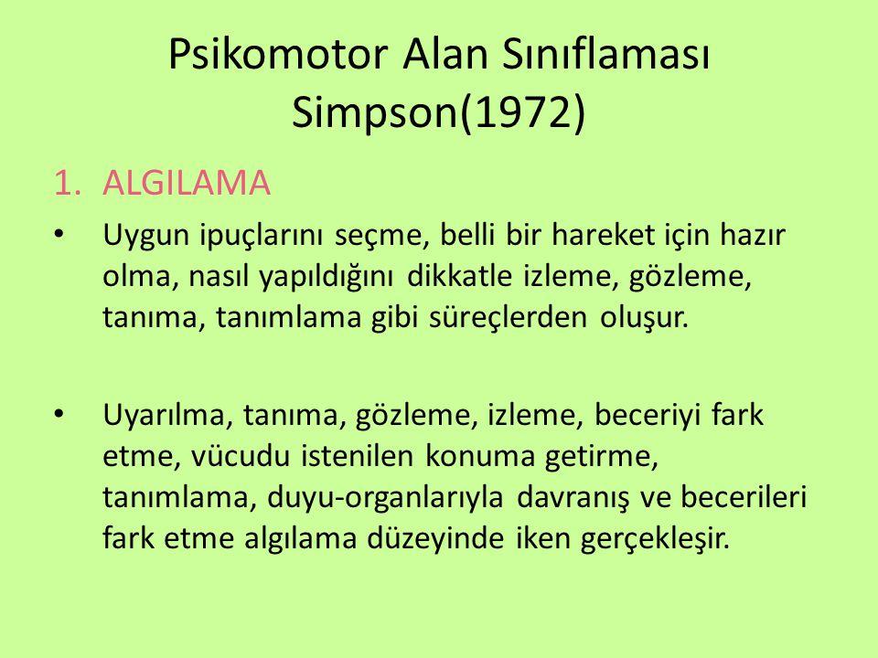 Psikomotor Alan Sınıflaması Simpson(1972)