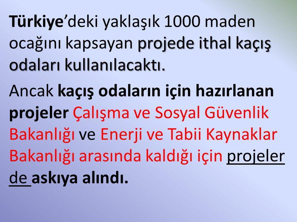 Türkiye'deki yaklaşık 1000 maden ocağını kapsayan projede ithal kaçış odaları kullanılacaktı.
