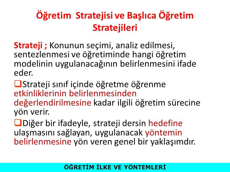Öğretim Stratejisi ve Başlıca Öğretim Stratejileri