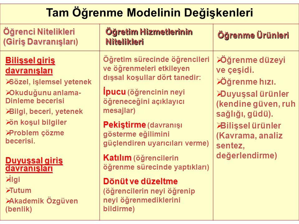 Tam Öğrenme Modelinin Değişkenleri