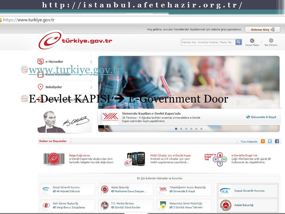 www.turkiye.gov.tr E-Devlet KAPISI  E-Government Door