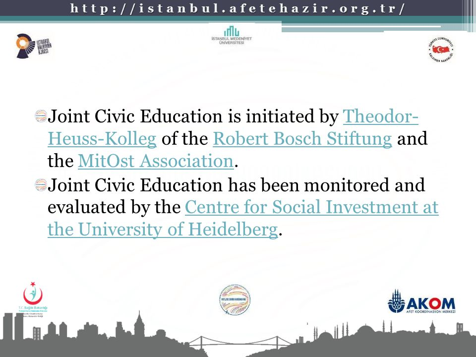 Joint Civic Education is initiated by Theodor- Heuss-Kolleg of the Robert Bosch Stiftung and the MitOst Association.