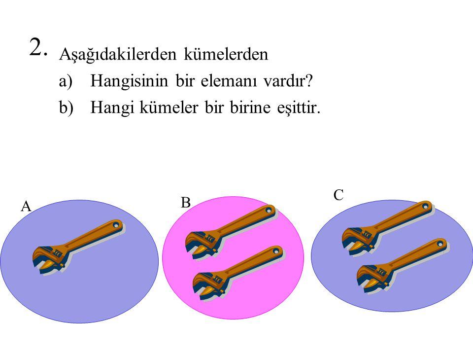 2. Aşağıdakilerden kümelerden Hangisinin bir elemanı vardır