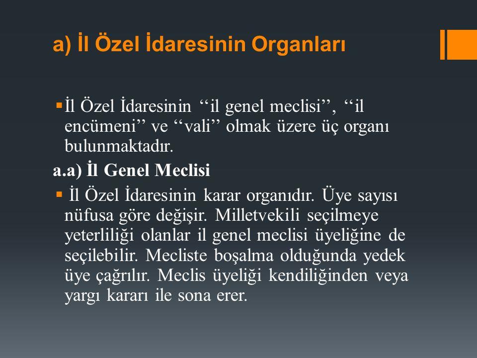 a) İl Özel İdaresinin Organları