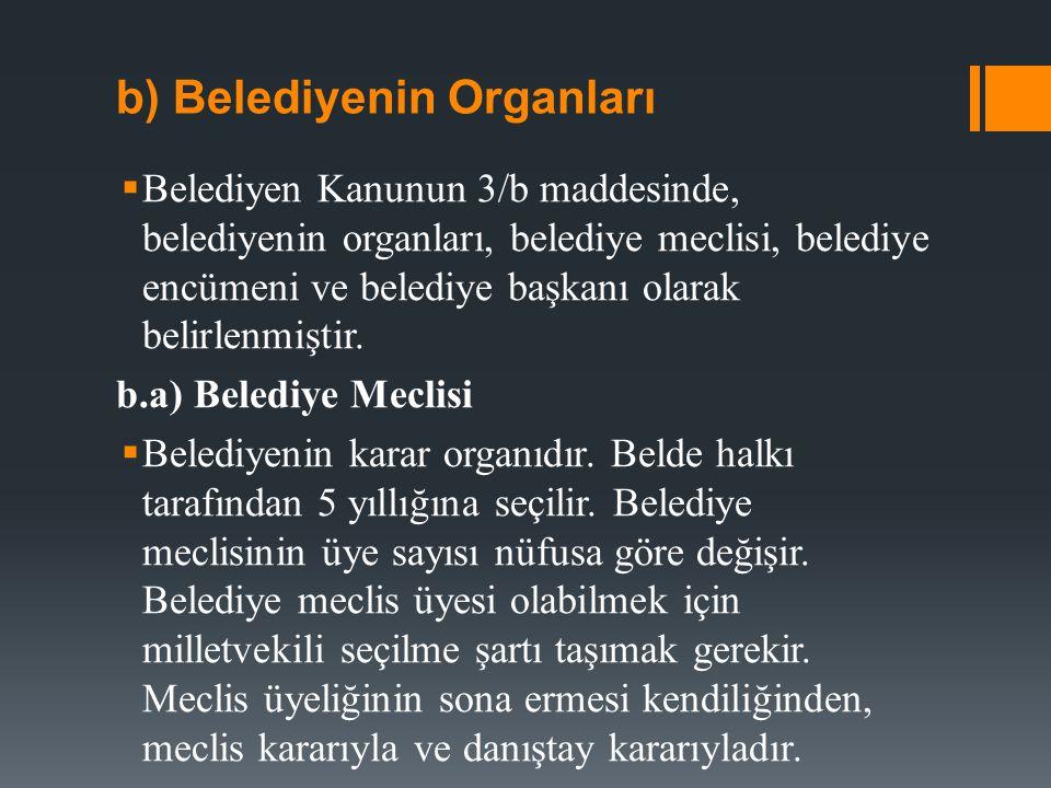b) Belediyenin Organları