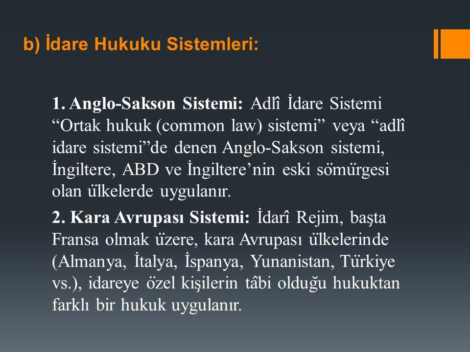 b) İdare Hukuku Sistemleri: