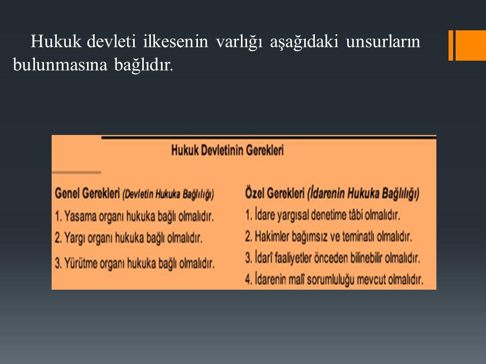 Hukuk devleti ilkesenin varlığı aşağıdaki unsurların bulunmasına bağlıdır.
