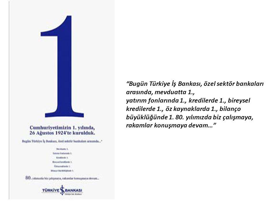 Bugün Türkiye İş Bankası, özel sektör bankaları arasında, mevduatta 1