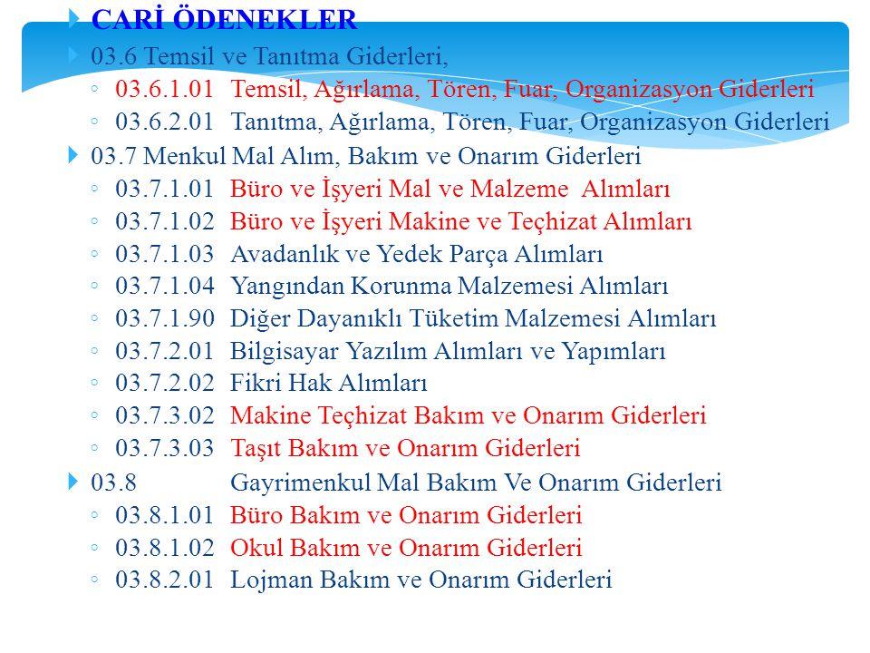 CARİ ÖDENEKLER 03.6 Temsil ve Tanıtma Giderleri,