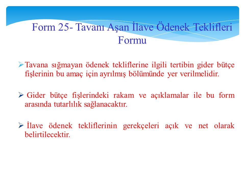 Form 25- Tavanı Aşan İlave Ödenek Teklifleri Formu