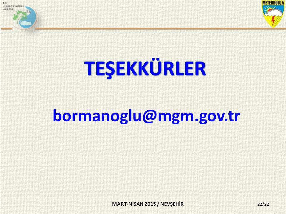 TEŞEKKÜRLER bormanoglu@mgm.gov.tr MART-NİSAN 2015 / NEVŞEHİR