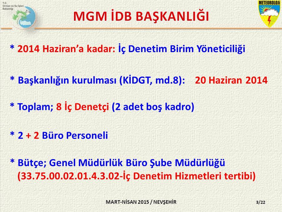 * 2014 Haziran'a kadar: İç Denetim Birim Yöneticiliği