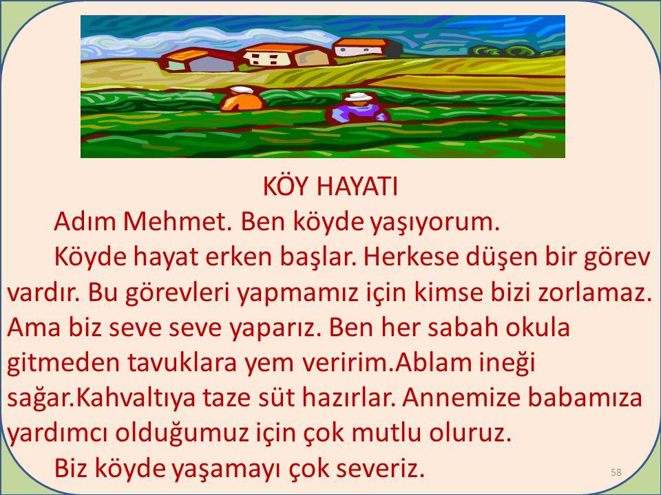+ KÖY HAYATI Adım Mehmet. Ben köyde yaşıyorum.