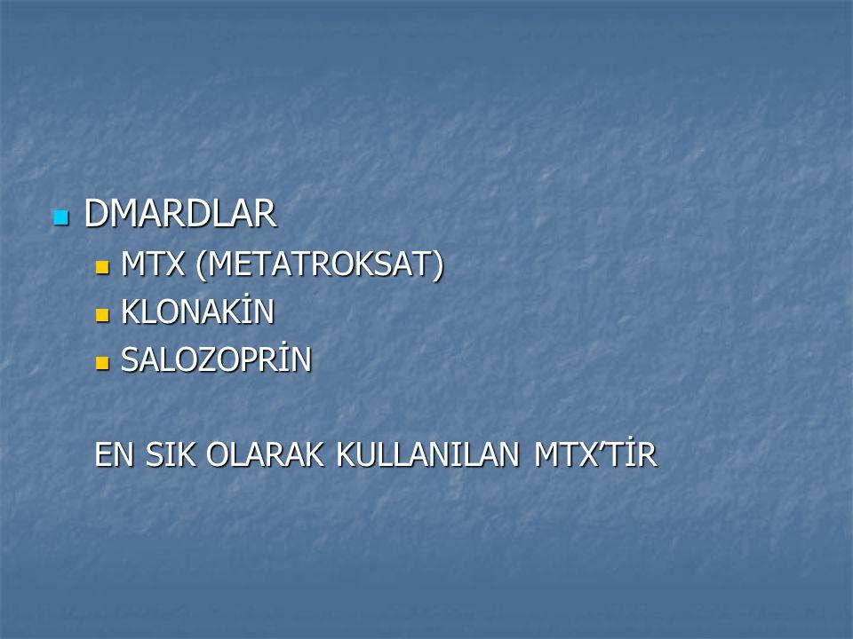 DMARDLAR MTX (METATROKSAT) KLONAKİN SALOZOPRİN