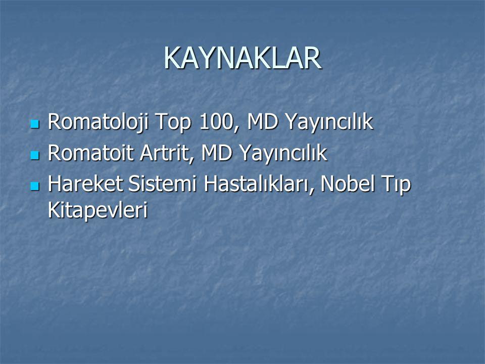 KAYNAKLAR Romatoloji Top 100, MD Yayıncılık