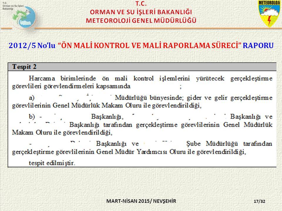 2012/5 No'lu ÖN MALİ KONTROL VE MALİ RAPORLAMA SÜRECİ RAPORU