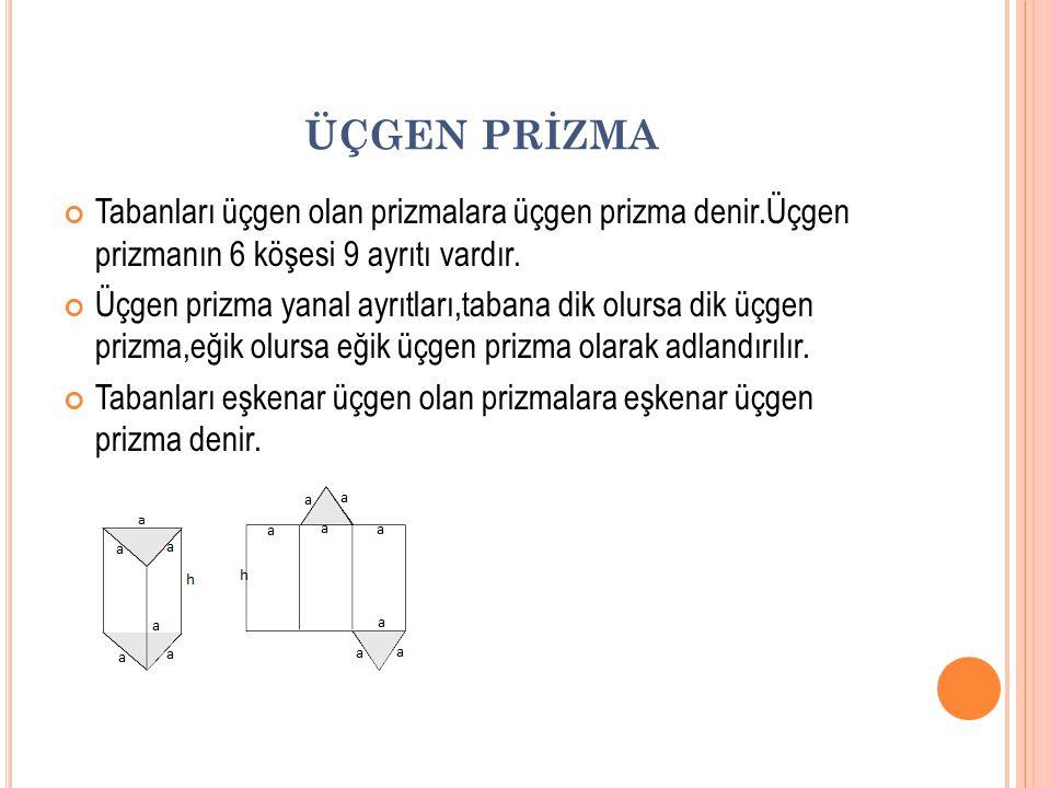 ÜÇGEN PRİZMA Tabanları üçgen olan prizmalara üçgen prizma denir.Üçgen prizmanın 6 köşesi 9 ayrıtı vardır.