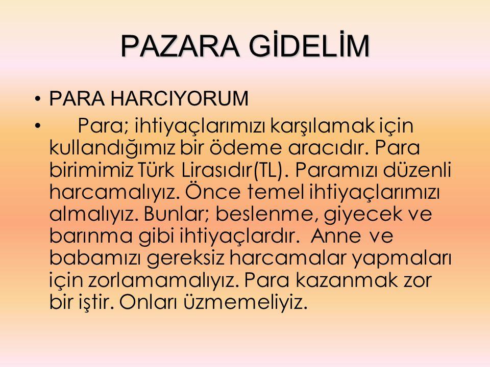 PAZARA GİDELİM PARA HARCIYORUM